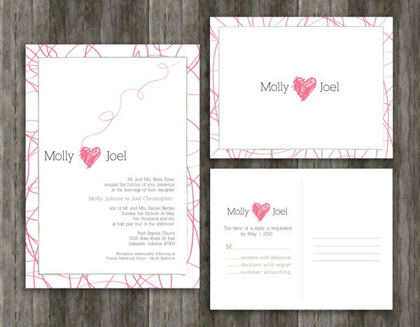 Wedding invitation and RSVP postcard front and back designed for Molly and