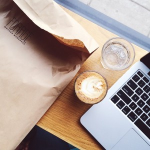 Catching up on email and caffeine after visiting @foragemodern_mn! Where…