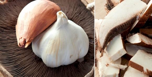 shallot, garlic, and portobello mushroom