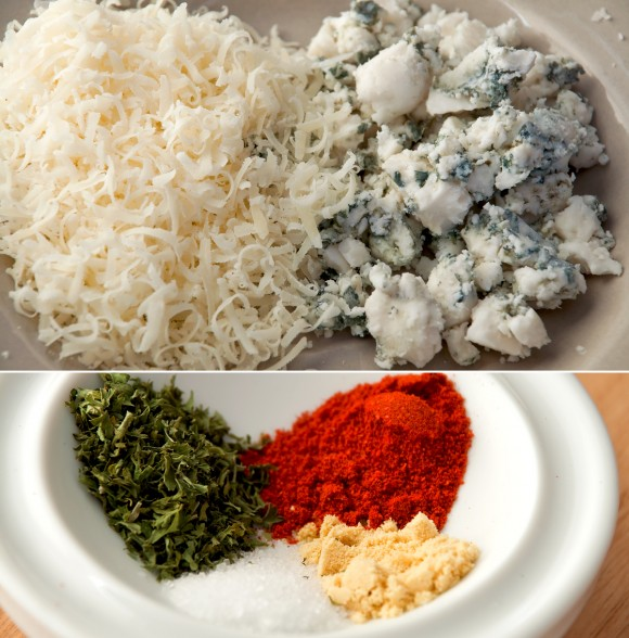 blue cheese and parmesan, and spices
