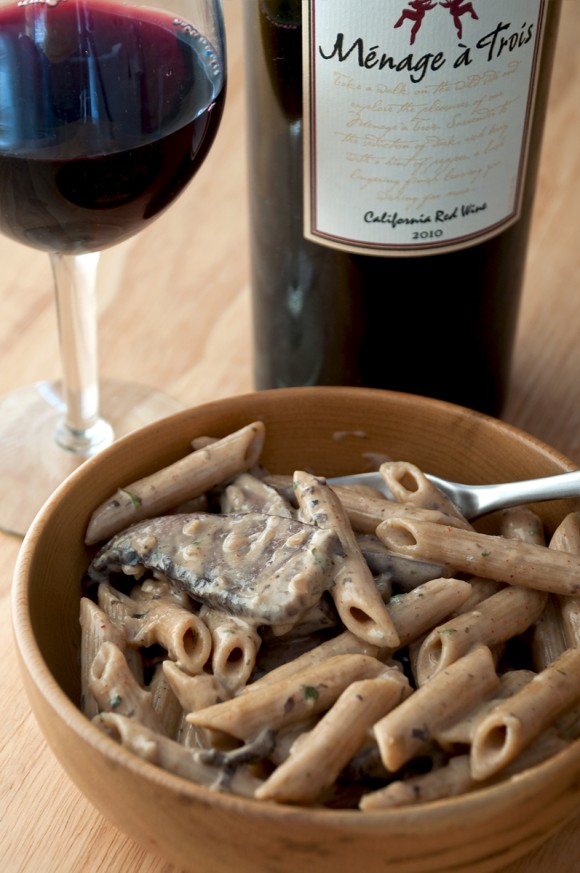 blue cheese and portobello penne with red wine